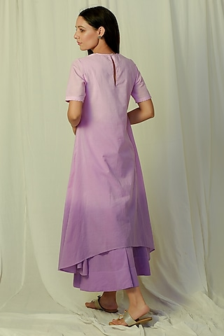 Lavender Ombre Embroidered & Flared Kurta Set by Charkhee