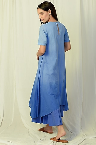 Blue Ombre Embroidered & Flared Kurta Set by Charkhee