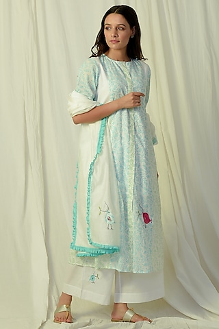 White & Green Embroidered Kurta Set by Charkhee