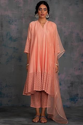 Peach Embellished Kurta Set by Charkhee