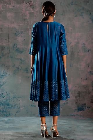 Egyptian Blue Embellished Kurta Set by Charkhee