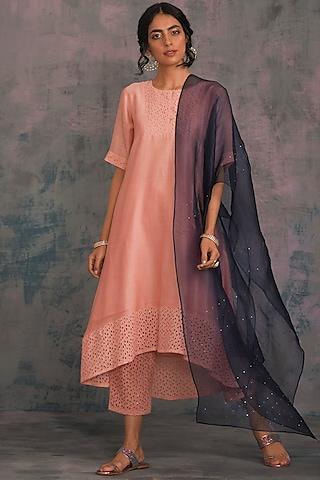 Peach Swarovski Embellished Kurta Set by Charkhee