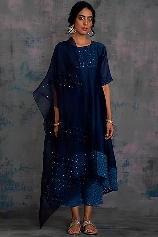 Midnight Blue Swarovski Embellished Kurta Set by Charkhee