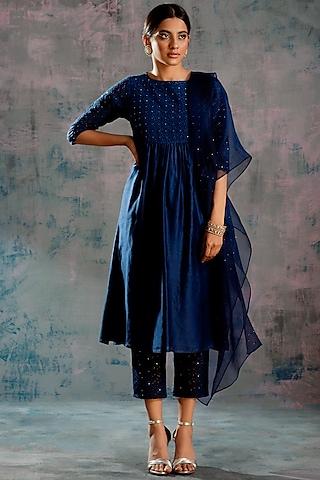Midnight Blue Embellished Round Yoke Kurta Set by Charkhee