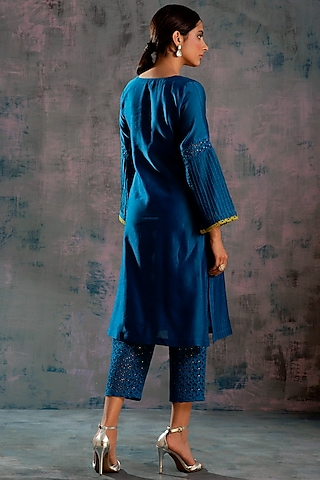 Egyptian Blue Embellished Cutwork Kurta Set by Charkhee
