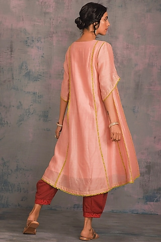 Peach Embellished Cutwork Kurta Set by Charkhee