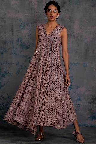 Berry Mauve Swarovski Angrakha Dress by Charkhee