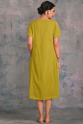 Berry Green Embellished Dress by Charkhee
