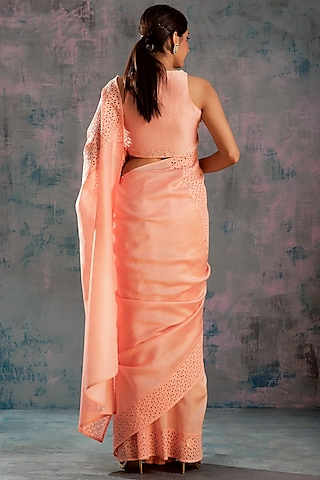 Peach Embellished Saree Set by Charkhee