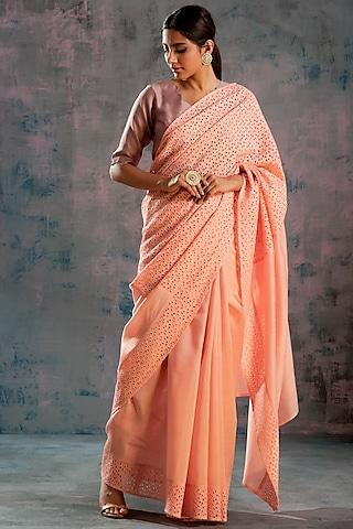 Peach Swarovski Embellished Saree Set by Charkhee