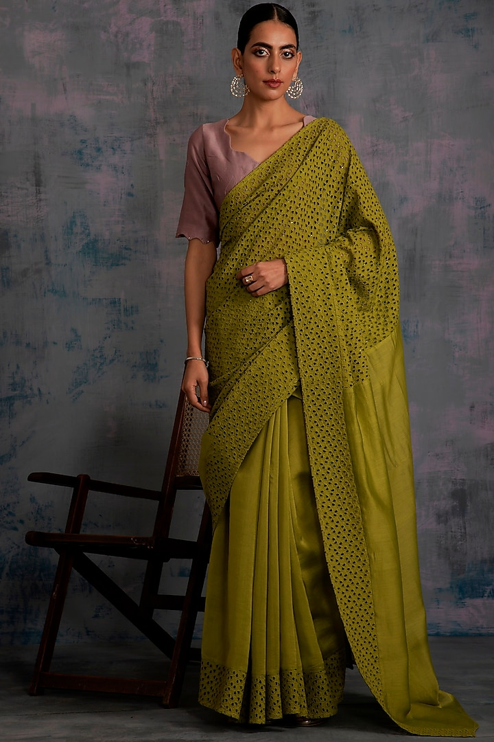 Berry Green Embellished Saree Set by Charkhee