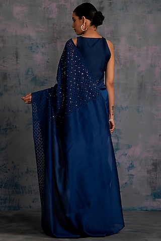 Midnight Blue Embellished Saree Set by Charkhee