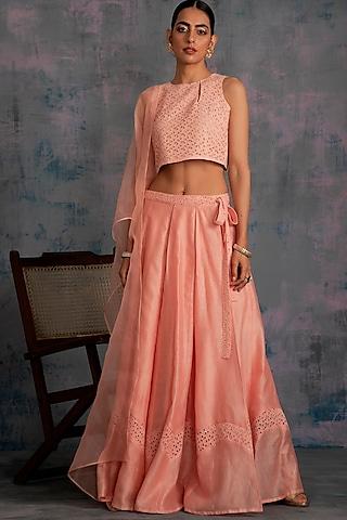 Peach Embellished Lehenga Set by Charkhee