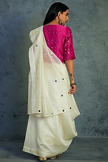 Off White Embroidered Saree With Magenta Blouse by Charkhee