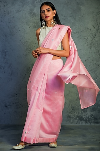 Light Pink Embroidered Saree With Off White Blouse by Charkhee