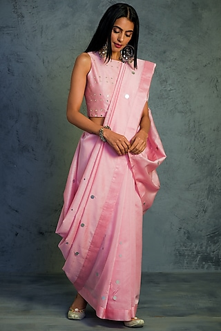 Light Pink Embroidered Saree Set by Charkhee