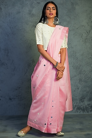 Light Pink Saree With Off White Embroidered Blouse by Charkhee
