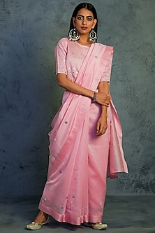 Light Pink Mirror Embroidered Saree Set by Charkhee