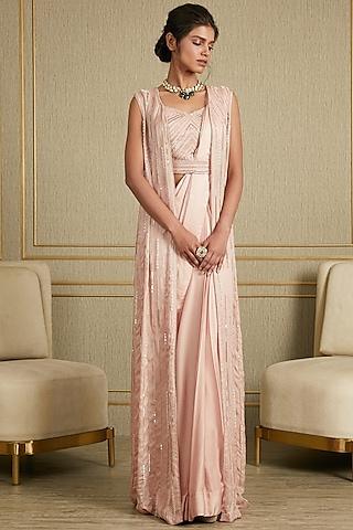 Blush Pink Hand Embroidered Saree Set With Cape by Charu & Vasundhara
