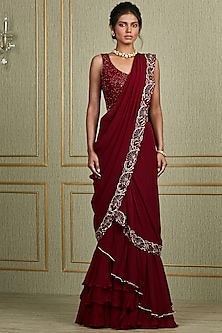 Oxblood Red Hand Embroidered Saree Set by Charu & Vasundhara