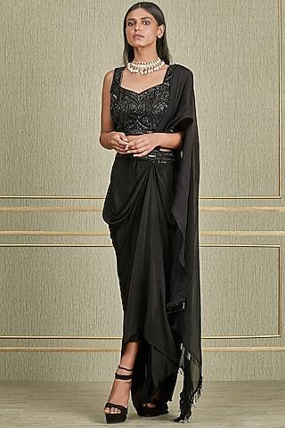 Black Hand Embroidered Skirt Set by Charu & Vasundhara