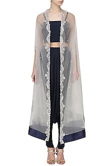 White Zardozi Embroidered Cape with Navy Blue Dhoti and Crop Top Set by Chhavvi Aggarwal