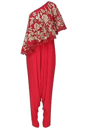 Red Zardozi Embroidered Cape with Dhoti Set by Chhavvi Aggarwal