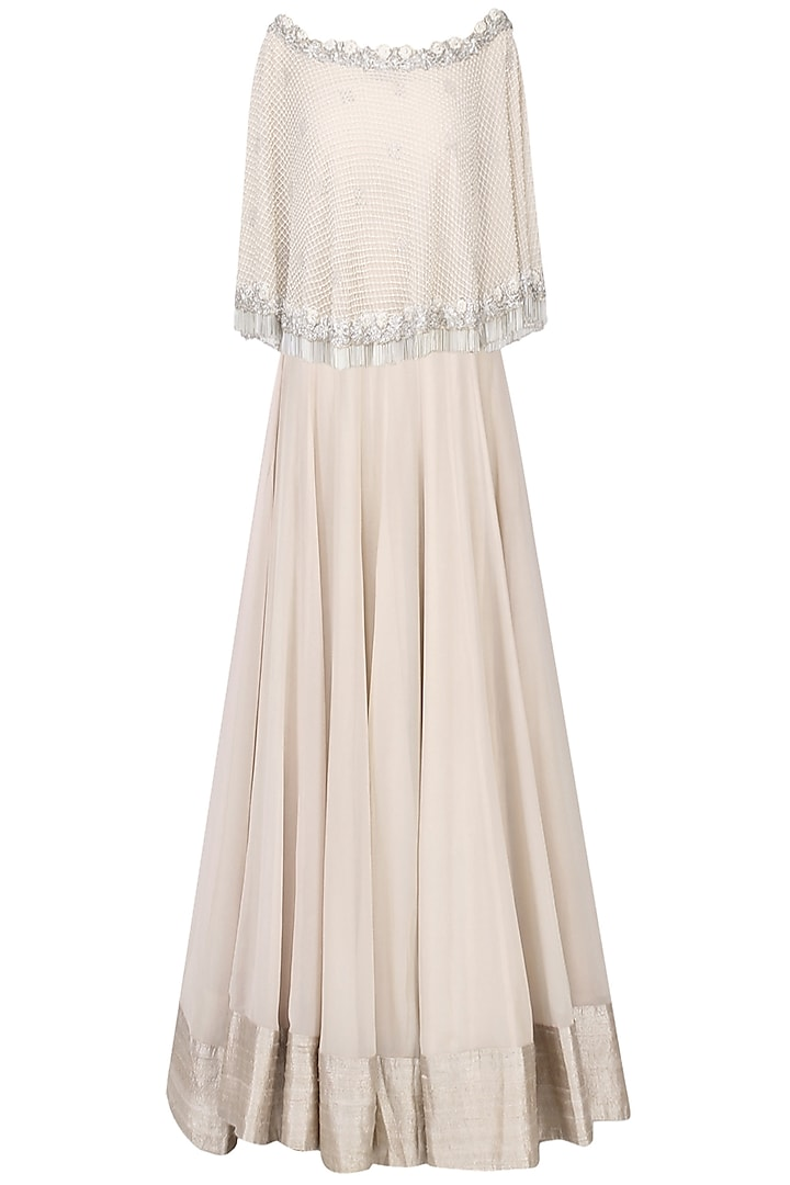 Nude Zardozi Embroidered Cape with Lehenga Set by Chhavvi Aggarwal