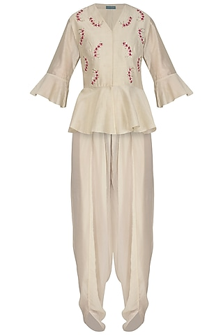 Cream Embroidered Peplum Top With Dhoti Pants by Chhavvi Aggarwal