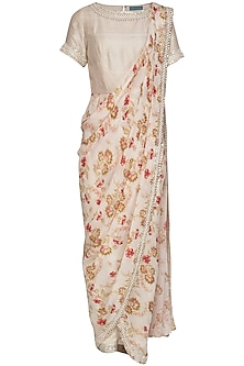 Cream Printed Pearl Pant Saree Set by Chhavvi Aggarwal