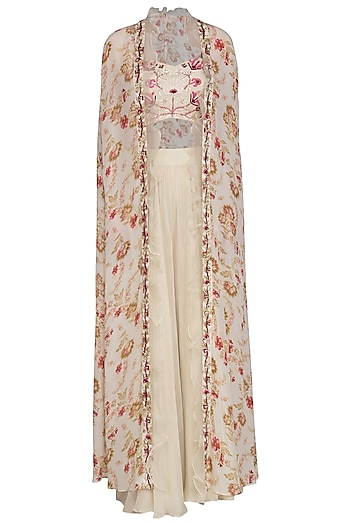 Cream Embroidered Blouse With Palazzo Pants With Cape by Chhavvi Aggarwal
