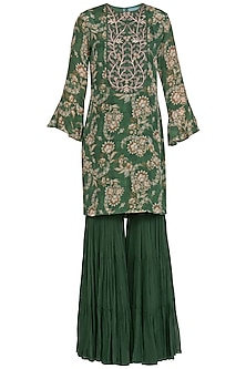 Olive Green Embroidered Printed Kurta With Sharara Pants by Chhavvi Aggarwal