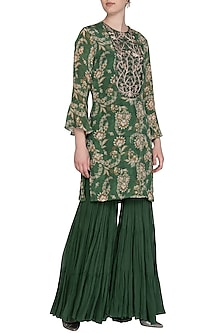Olive Green Embroidered Printed Kurta With Sharara Pants by Chhavvi Aggarwal