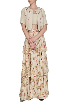 Cream Embroidered Printed Skirt With Blouse & Jacket by Chhavvi Aggarwal