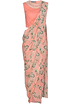 Peach Pearl Dhoti Pant Saree Set by Chhavvi Aggarwal