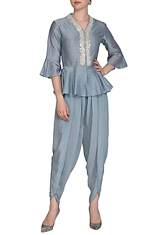 Grey Pearl Peplum Top With Dhoti Pants by Chhavvi Aggarwal