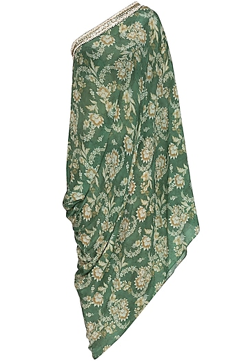Olive Green Printed Embroidered One Shoulder Dress by Chhavvi Aggarwal