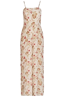 Cream Printed Jumpsuit by Chhavvi Aggarwal