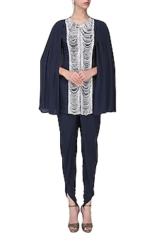 Navy Blue Embroidered Cape Jacket with Dhoti Pants Set by Chhavvi Aggarwal