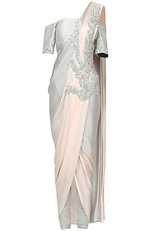 Grey Ombre Embroidered Drape Saree Set by Chhavvi Aggarwal