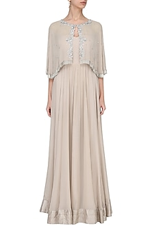Nude Off Shoulder Gown with Embroidered Cape by Chhavvi Aggarwal