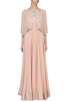 Pink Off Shoulder Gown with Embroidered Cape by Chhavvi Aggarwal