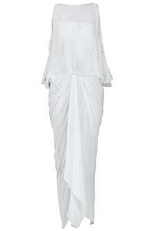 Grey Off Shoulder Drape Dress with Embroidered Cape Set by Chhavvi Aggarwal