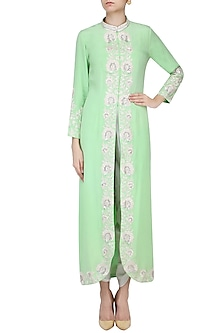 Green Threadwork Jacket With White Dhoti Pants by Chhavvi Aggarwal