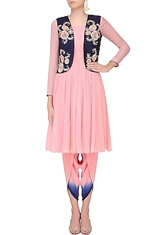 Pink Chiffon Kurta With Blue Embroidered Gilet and Dhoti by Chhavvi Aggarwal