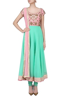 Sea Green and Pink Embroidered Anarkali Set by Chhavvi Aggarwal