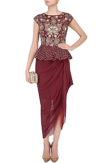 Red Peplum Drape Dress by Chhavvi Aggarwal