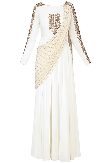 White Embroidered Drape Dupatta Anarkali by Chhavvi Aggarwal