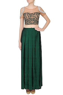 Nude Colour Embroidered Crop Top With Green Skirt by Chhavvi Aggarwal