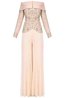 Pink Embroidered Off Shoulder Jacket With Sharara Pants by Chhavvi Aggarwal
